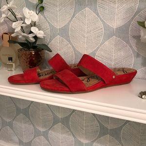 Sam Edelman lanelle red suede sandals Sz 7